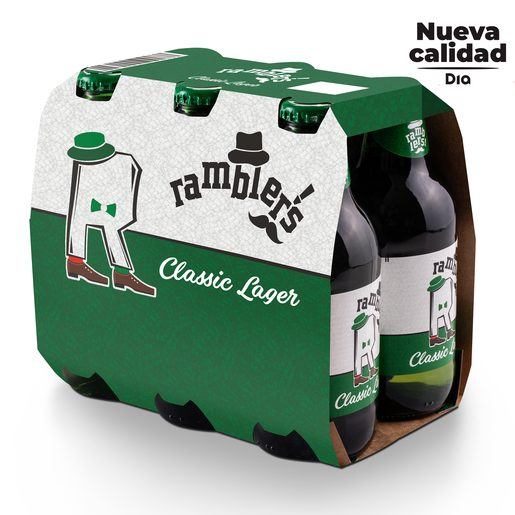 DIA RAMBLERS cerveza lager pack 6 botellas 25 cl