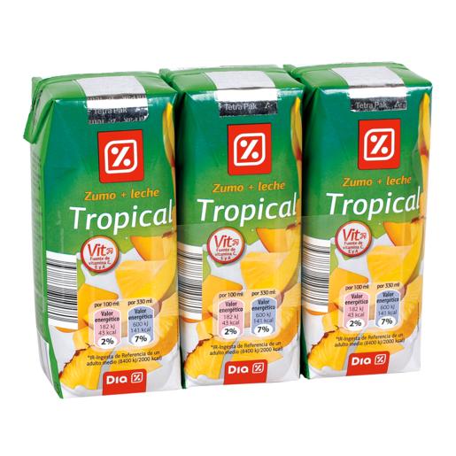 DIA bebida de frutas con leche tropical pack 3 unidades 33 cl