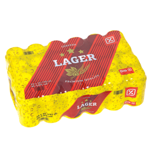 DIA cerveza rubia lager pack 24 latas 33 cl