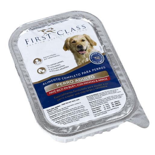 FIRST CLASS paté para perros adultos rico en buey con patata y arroz tarrina 400 gr