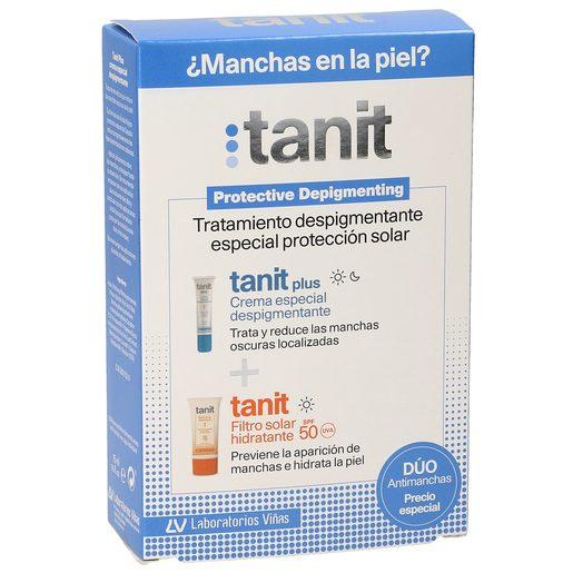 TANIT pack crema despigmentante tubo 15 ml + filtro solar hidratante spf 50 tubo 50ml