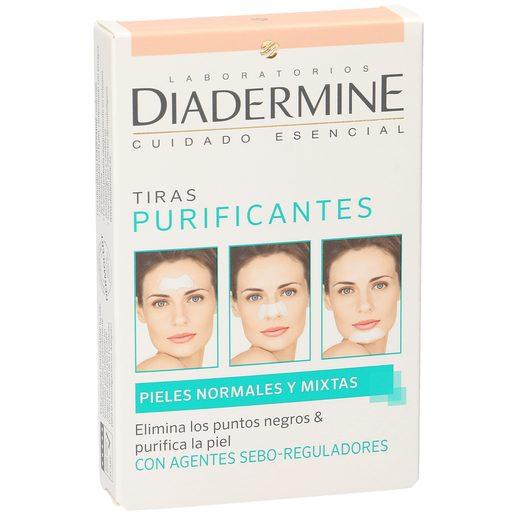 DIADERMINE tiras faciales purificantes elimina puntos negros caja 6 uds