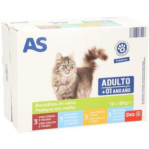 AS bocaditos en salsa para gatos adultos 12 x 100 gr
