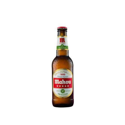 MAHOU 5 ESTRELLAS cerveza SIN GLUTEN botella 33 cl