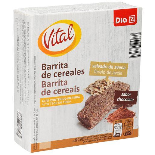 DIA VITAL barritas de cereales salvado de avena sabor chocolate caja 6 uds 180 gr