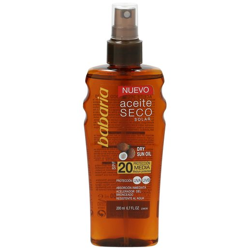 BABARIA aceite solar seco spf 20 spray 200 ml