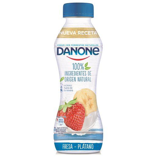 DANONE yogur líquido sabor fresa y plátano botella 280 gr