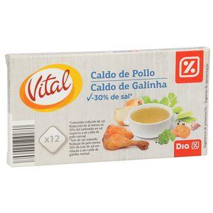 DIA VITAL caldo de pollo bajo en sal estuche 12 pastillas