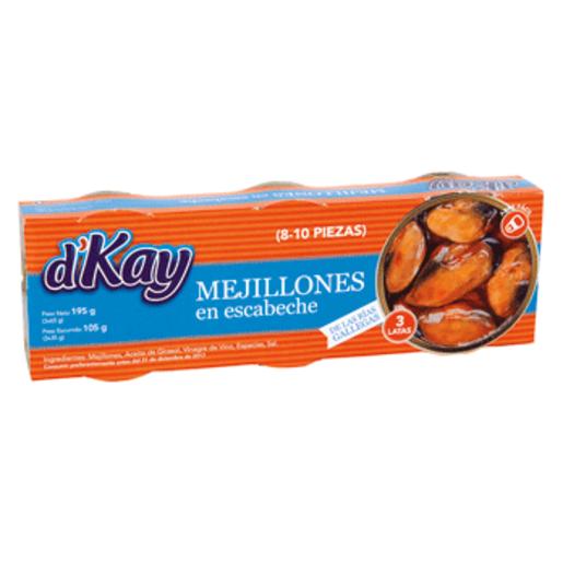 D'KAY mejillones escabeche pack-3 latas 144 g