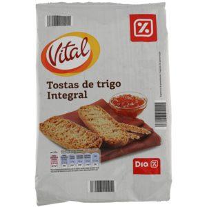 DIA VITAL tostas de trigo integral paquete 225 gr