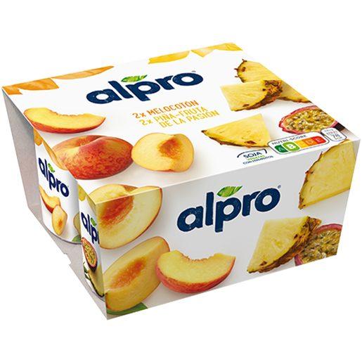 ALPRO yogur de soja sabor melocotón, piña y fruta de la pasión pack 4 uds 125 gr