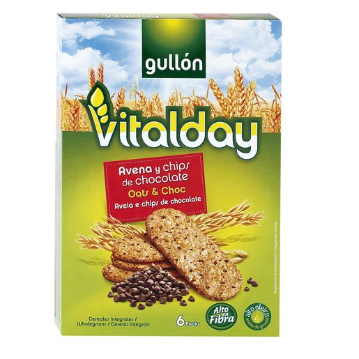 GULLON Vitalday galletas de avena y chips de chocolate caja 240 gr