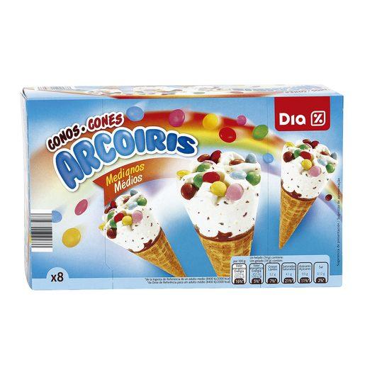DIA helado cono mediano arcoiris sabor vainilla caja 8 uds 272 gr