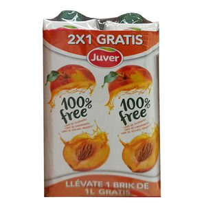 JUVER zumo de melocotón 100% free pack 2 uds 1 lt