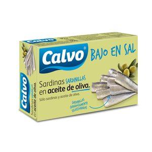 CALVO sardinillas en aceite de oliva baja en sal lata 60 g