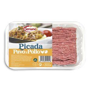 SERRANO preparado de carne picada de pavo y pollo bandeja 300 gr