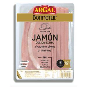 ARGAL Bonnatur jamón cocido en finas lonchas sobre 140 gr