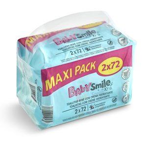 BABYSMILE toallitas bebé emulsión leche paquete 2 envase 72 ud